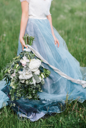 Wedding Dress with Blue Skirt