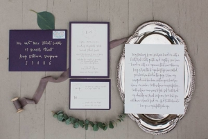 Wedding Invitations with Purple Envelopes