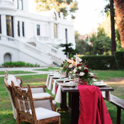Wedding Table with Red Fabric Runner