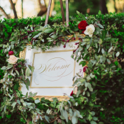 Wedding Welcome Sign with Greenery