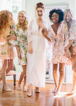 Bride and Bridesmaids in Plum Pretty Sugar Robes