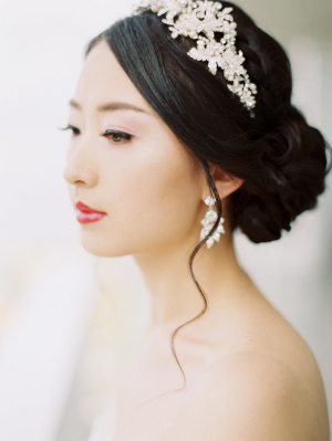 Bride in Elegant Headpiece