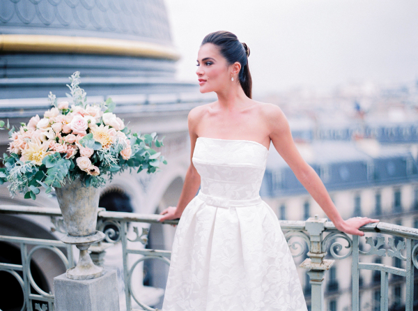 Bride on a Rooftop in Paris