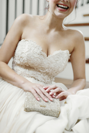 Bride with Glitter Clutch