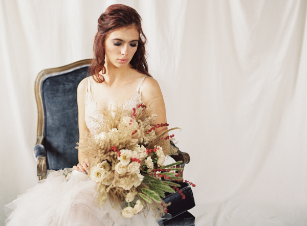Bride with Wheat Bouquet