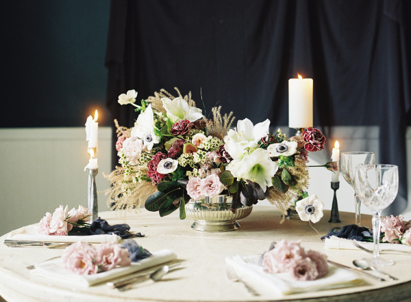 Centerpiece with Dark Flowers