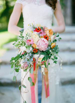 Colorful Bouquet with Ribbons