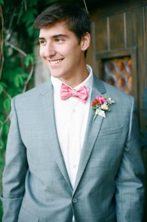 Groom in Pink Bow Tie