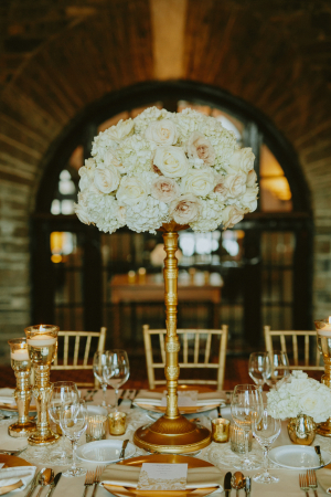 Ivory Rose Topiary Centerpiece