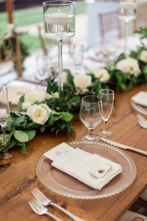 Ivory and Green Wedding Centerpiece
