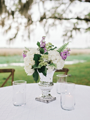 Lavender and White Centerpieces