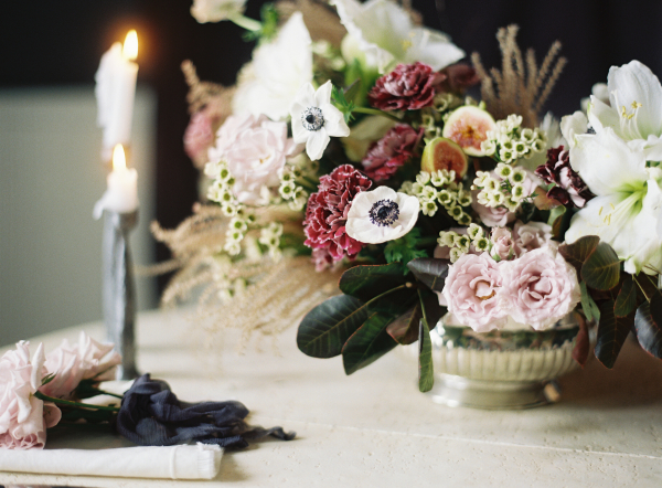 Mauve and Deep Green Centerpiece
