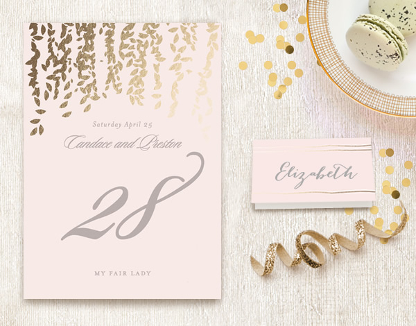 Minted Table Numbers and Place Cards