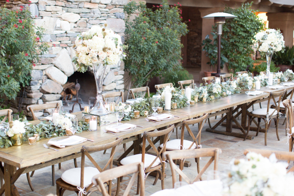 Outdoor Wedding with Long Wooden Tables