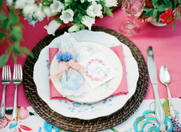 Pink and Blue Colorful Garden Wedding