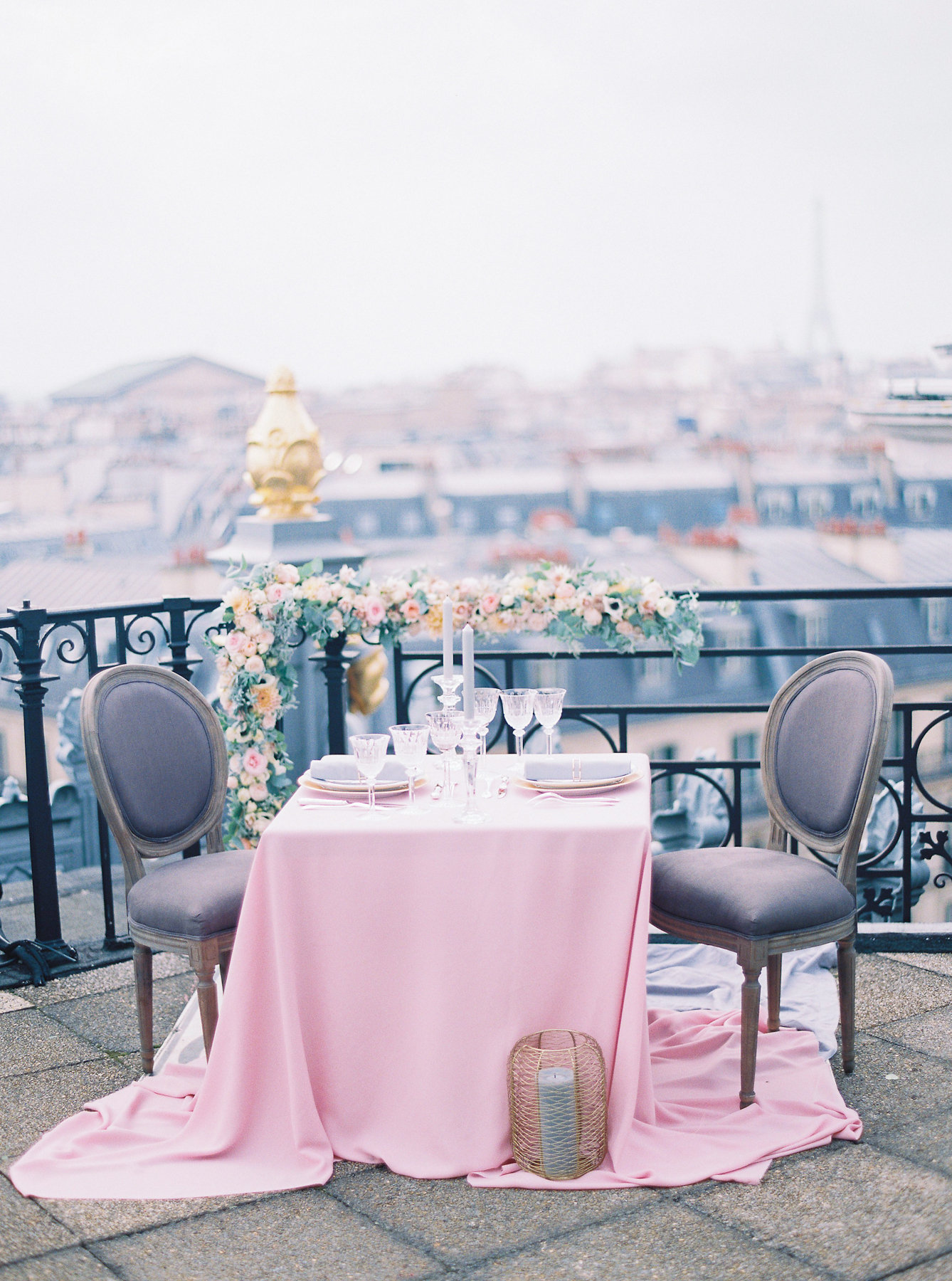 Pink and Gray Wedding Tabletop