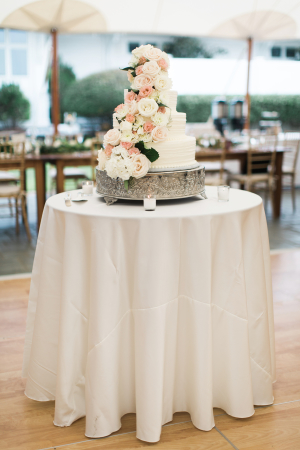 Tiered Wedding Cake with Cascading Flowers