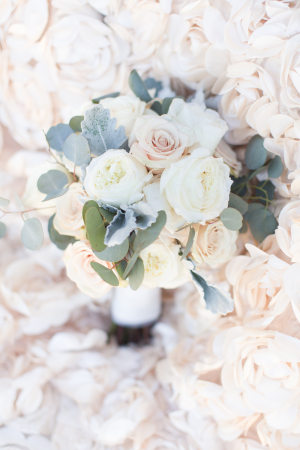 Wedding Bouquet with Roses and Dusty Miller