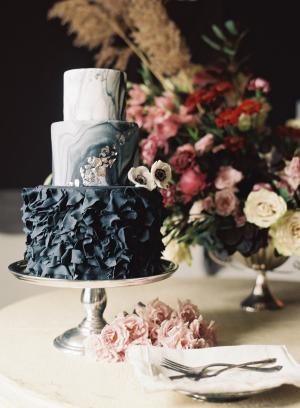 Wedding Cake with Black Ruffles
