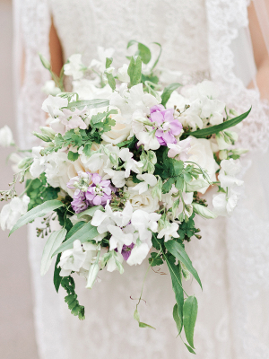 White and Lavender Bridal Bouquet