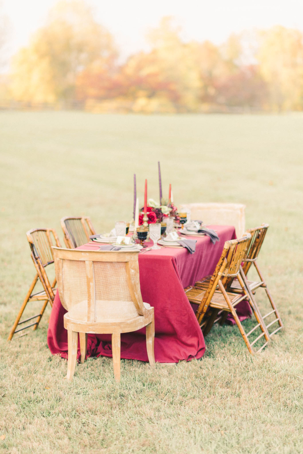 Berry Colored Wedding Table