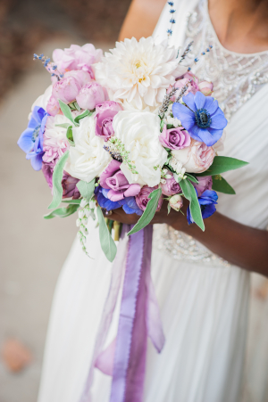 Bouquet with Purple Ribbons