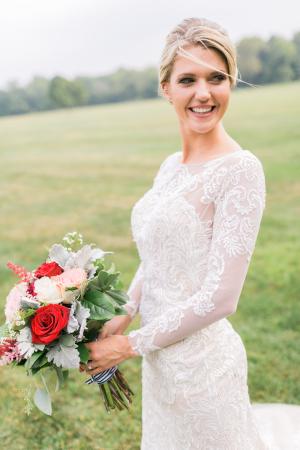 Bride in Oleg Cassini Dress