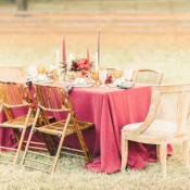 Burgundy and Yellow Wedding Table