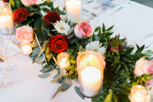Candle and Garland Centerpiece