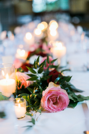 Centerpiece with Pink Roses and Greenery