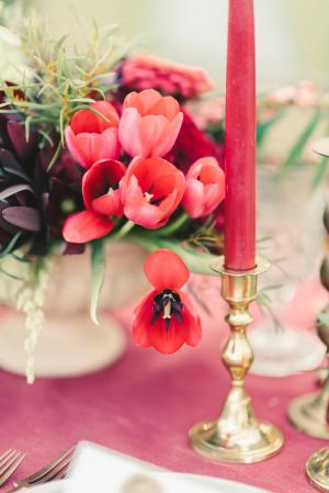 Dark Pink Taper Candle