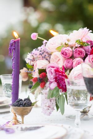 Fuchsia and Purple Wedding Centerpiece