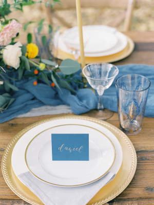 Gold and Blue Wedding Place Setting