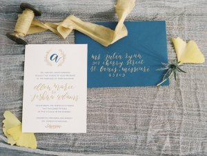 Gold and Blue Wedding Stationery