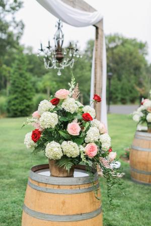 Hydrangea and Rose Wedding Flowers