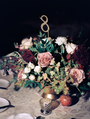 Mauve and Burgundy Wedding Flowers