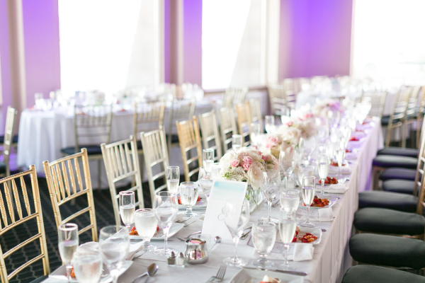 Restaurant Wedding with White Flowers