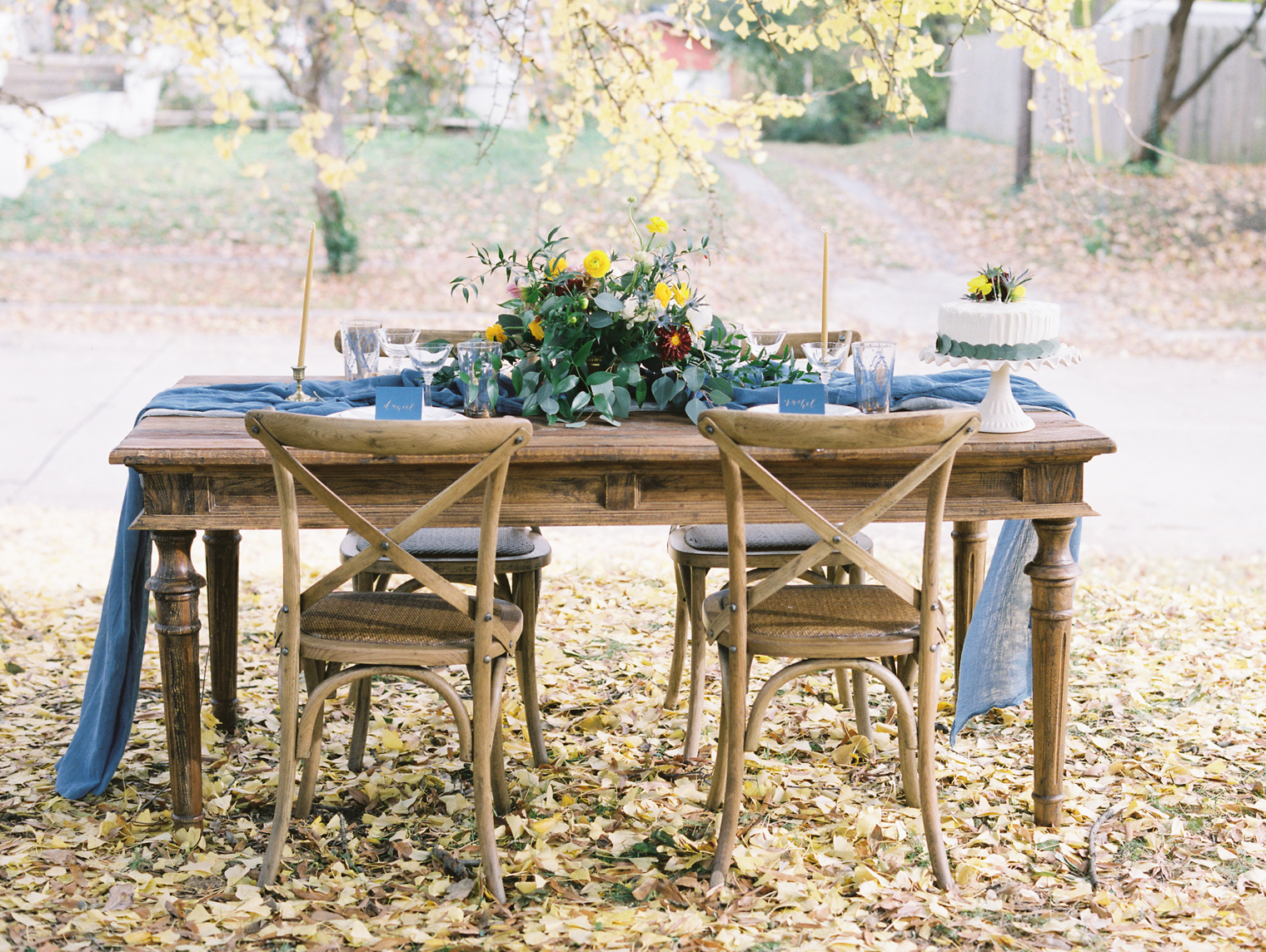 Rustic Blue And Brown Wedding Table