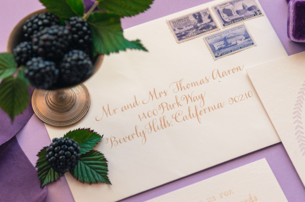 Wedding Invitations with Purple Stamps