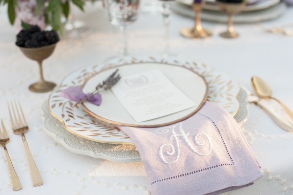 Wedding Place Setting with Lavender Napkin