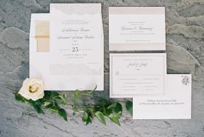 Blush and Silver Wedding Invitations