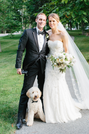 Bride and Groom with Adorable Dog