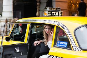 Bride in Vintage Yellow Cab