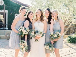 Bridesmaids in Gray and Silver
