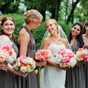 Bridesmaids in Gray with Pink Bouquets