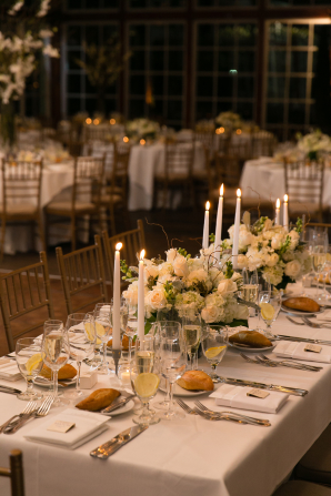 Centerpiece with Ivory Flowers and Candles