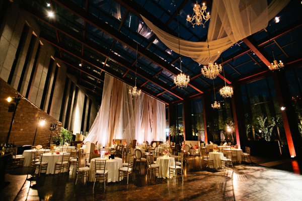 Elegant Wedding with Draping and Chandeliers