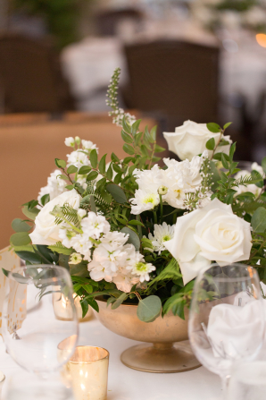 Gold Green and White Centerpiece