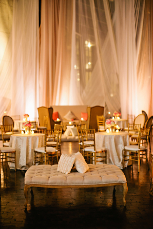 Gold Wedding Lounge Area with Elegant Draping