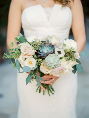 Green and Blush Bouquet with Succulents